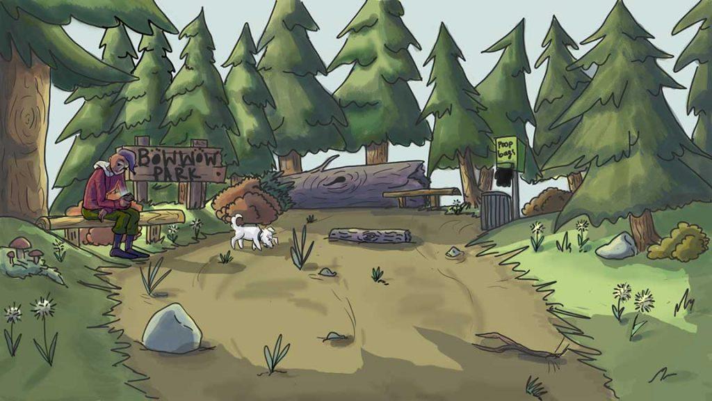 illustration of a dog park