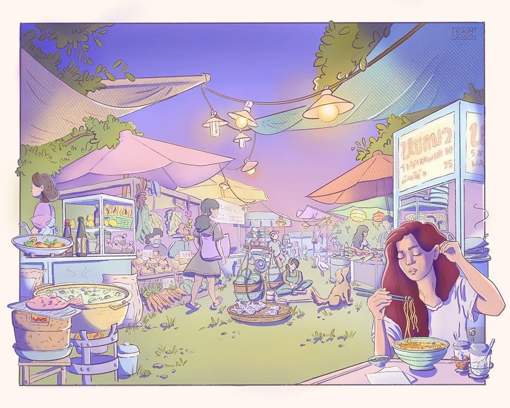 Illustration of a markett