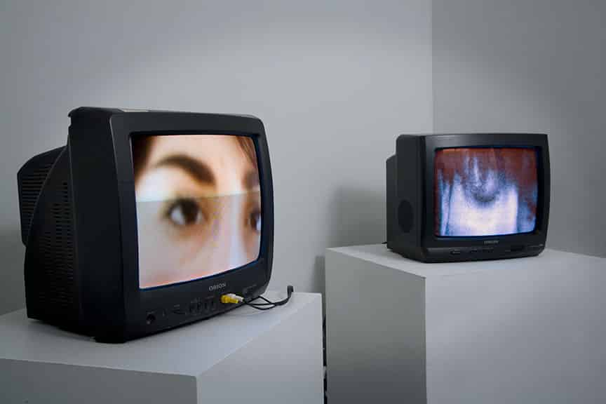 An art installation of televisions